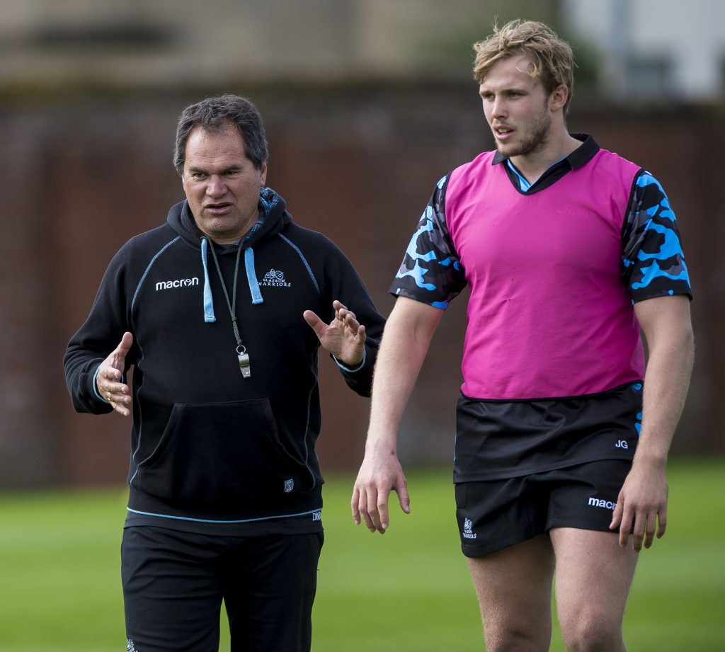 Glasgow Warriors coach Dave Rennie in action before Guinness Pro14 rugby match